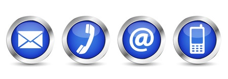 34790299 - contact us web buttons set with email, at, telephone and mobile icons on blue silver badge vector eps 10 illustration isolated on white background.